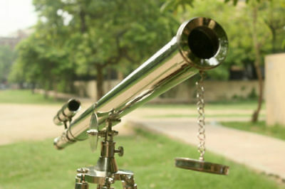 """39"""" Vintage Brass Double Barrel Griffith  Astor Telescope With Tripod Stand"""