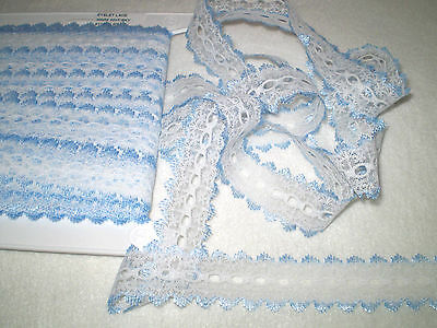 knitting in/eyelet lace 10 metres x 3.8cm wide white with blue edging