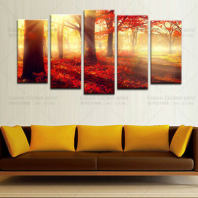 HD Canvas Print Home Decor Wall Art Painting Picture-Red Tree and Sunset NoFrame