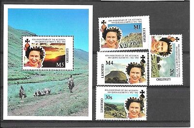 LESOTHO 1992 40TH ANNIVERSARY QUEENS ACCESSION SET + M/S..SG1084-1087,MS1088umm