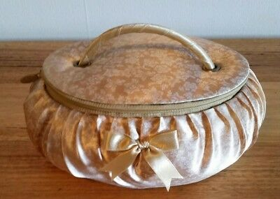 Vintage Vanity Makeup Case Box Mirror Satin Feel Plush Outer Covering