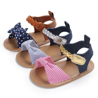 Baby Infant Bow Soft Sole Crib Shoes Toddler Kids Girl Summer Princess Sandals