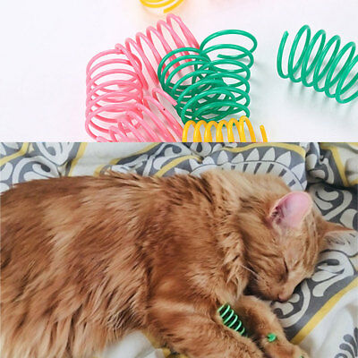 10Pcs Pet Cat Plastic Spring Toy Balls Kitten Interactive Rebound Toys Surprise