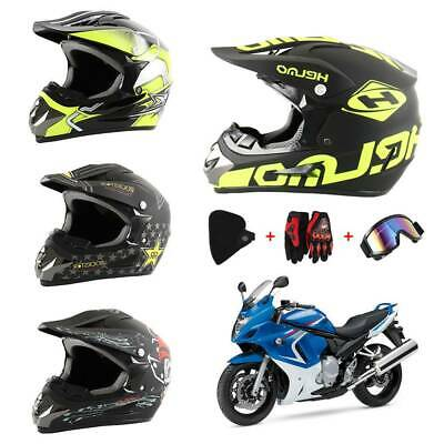 Crosshelm Motocross Enduro Quad ATV Downhill Motorradhelm Mask+Brille+Handschuh