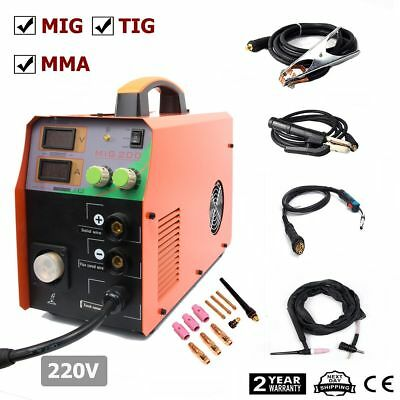 MIG 220V 200Amp welder Inverter Mig Welding Machine Stick MMA & TIG 3in1 &troch
