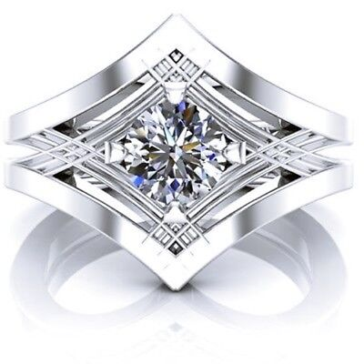 Certified 2.0Ct Round Cut White Diamond 14k White Gold Solitaire Engagement Ring