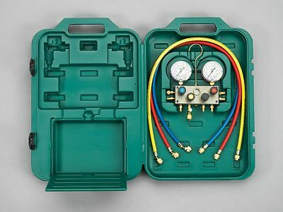 Refco 4-WAY MANIFOLD SET Dual Scale Gauges,3-Charging Line,1/2-20 UNF Connection