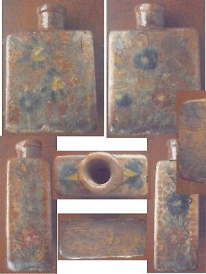 Antique Pottery (maybe Chinese unsure) stone ware tea caddy or vase Brown / Navy