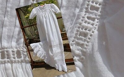 Beautiful Handmade Antique Ribbon Lace Hand Embroidered Christening Gown Dress