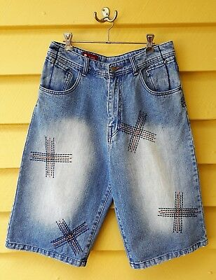Men's Vintage Denim Shorts Embroidered Funky Ex Condition W32.
