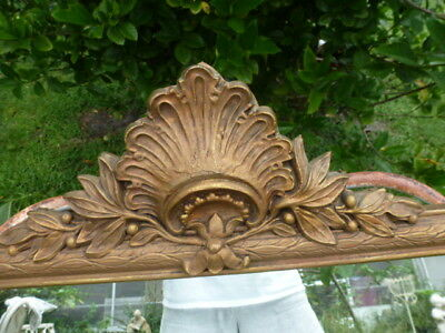 Antique Victorian French Gesso Wood Hall Mirror Frame Gilt Crest Carved scallop