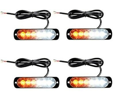 LED Emergency Flashing Safety Warning Lights x 4  Beacon Amber / White 6 LED