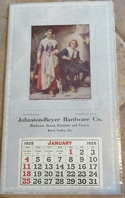 Rural Valley Pennsylvania hardware calendar page 1925 Mayflower Alden Priscilla