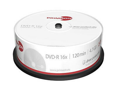 25 Primeon DVD+R silver protect disc 4,7GB 120Min 16x Rohlinge Spindel