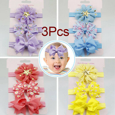 3pcs/Set Newborn Girl Bow Headband Ribbon Elastic Baby Headdress Kids Hair Band