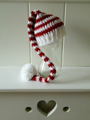 NEW Crochet Christmas hat elf pixie long tail newborn baby Photography prop