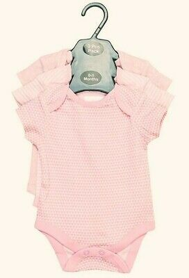 Ex Store Baby Girls 3 Pack Short Sleeve Pink Heart Stripe Spotty Vests 0 3 6 9 3