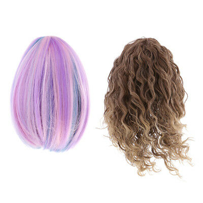 Dolls Hair Wigs for 18'' American Girl Doll DIY Making Supplies Purple&Brown