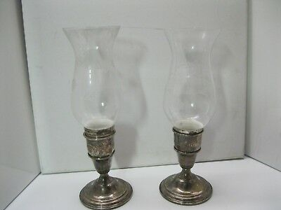 Vintage CARTIER STERLING weighted 822 candle holders (2) hurricanes etched glass