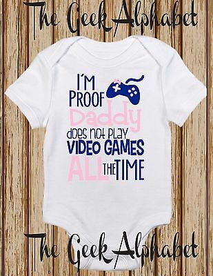 I'm Proof Daddy Doesn't Game All The time-Gamer Funny Clothes -Gift-Tops-Girl