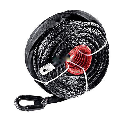 """3/8"""" x 95'Black Synthetic Winch Rope Line Cable 20500LBs w/Heat Guard ATV UTV US"""