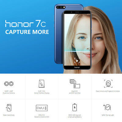 """5.99"""" Huawei Honor 7C 4G Smartphone 32GO Android8.0 Face ID 13MP 3*Cam 2SIM Bleu"""