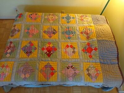 """1960's Vintage Handmade Heavy Weight Patchwork Quilt - Cotton Bedcover 76"""" x 65"""""""