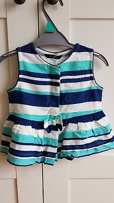 George - Blue, Turquoise & White Stripe Top 12-18 Months - BNWT