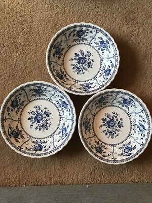 Johnson Brothers - Blue And White Floral - 3 Bowls - Very Good Condition
