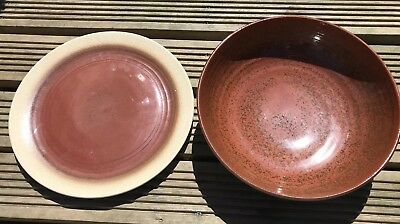 Jersey Pottery. Charger And Bowl. Brown.