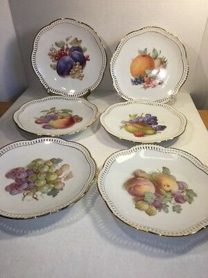 "Schumann Arzberg Germany 6 Fruit Plates 8"" Reticulated Signed Near Mint"