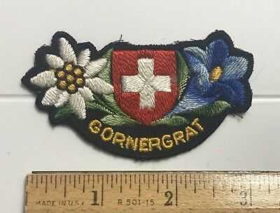 Gornergrat Switzerland Swiss Flag Shield Flowers Embroidered Crest Patch Badge