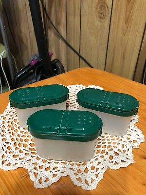Set Of 3 Tupperware Modular Mates Small Spice Shaker Containers Green Lids 1843