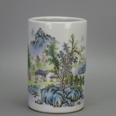 China old carved porcelain famille rose glaze landscape pattern brush pot c02