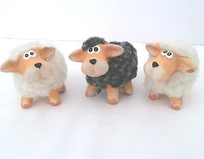 3 Ceramic Wooly Sheep Lamb Figures White & Gray Wool Figurines Animals