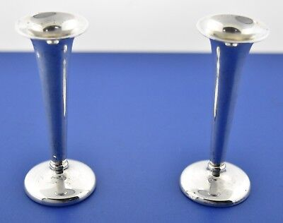 """Pair Antique Mauser / Mt. Vernon 3"""" Sterling Silver Trumpet Candleholders 11161"""