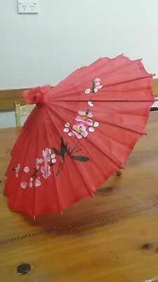 Festival Parasol. Vintage red silk umbrell w painted flowers. Wooden handle.