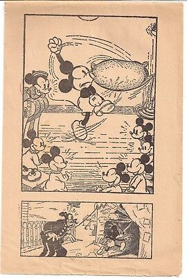 Vintage Mickey Mouse--7 Double Pages Funnies And Coloring  Booklet