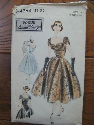 Vintage Vogue Sewing Pattern S4264 Special Design 1952 Evening Dress Sz 14