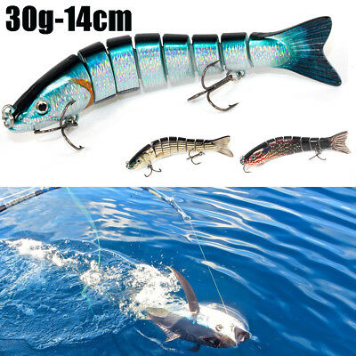 8 Sections 30g Multi Jointed Fishing Lure Minnow Crank Baits Bass Swimbait Gear