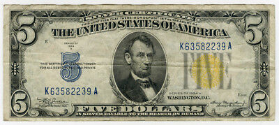 """1934 Us. $5 Silver Certificate """"north Africa"""" Yellow Seal Nice Scarce Note."""