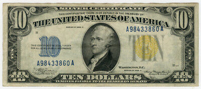 """1934 Us. $10 Silver Certificate """"north Africa"""" Yellow Seal Crisp Scarce Note."""