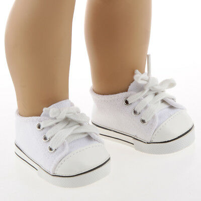 Cute White Canvas Lace Up Sneakers Shoes for 18inch American Girl Doll Accs