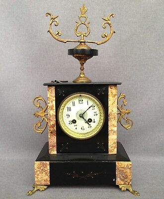 Antique Napoleon III style french clock bronze and marble 19th century