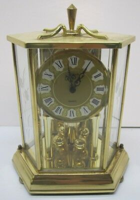 Vtg German Kundo Quartz Brass Floral Glass Anniversary Carriage Mantel Clock