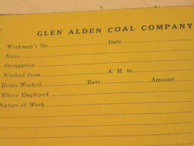 26 Vintage GLEN ALDEN COAL CO Miner Workman Work Time Pay Forms Pad Unfilled