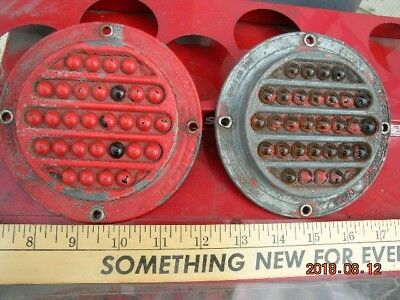 Vintage cat eye reflectors rail road fence truck metal street sign