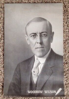 "1918 World War I Print - President Woodrow Wilson - E. G. Renesch - 10.25"" X 16"""