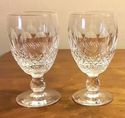"Pair of Waterford Colleen Claret Wine Crystal Stemware 4 3/4"" Tall"