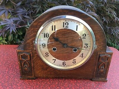 Enfield Antique/Vintage Wooden Pendulum Mantle Clock England with Key